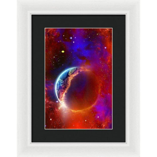 Ruptured Moon - Framed Print - 9.375 x 14.000 / White / Black - Framed Print