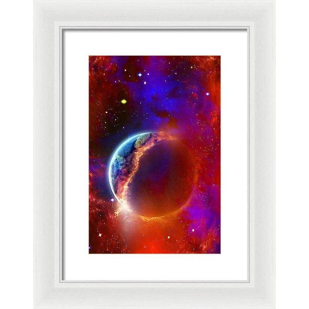 Ruptured Moon - Framed Print - 9.375 x 14.000 / White / White - Framed Print