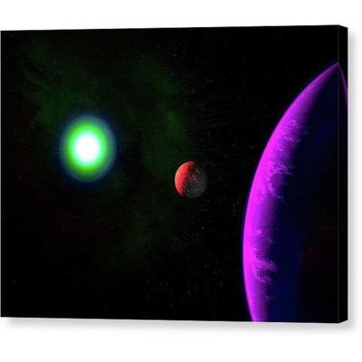 Sun-moon-planet Trio - Canvas Print - 8.000 x 6.000 / Mirrored / Glossy - Canvas Print