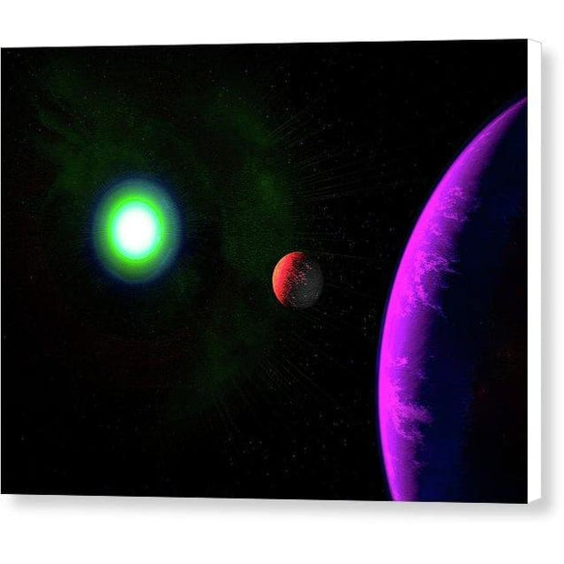 Sun-moon-planet Trio - Canvas Print - 8.000 x 6.000 / White / Glossy - Canvas Print