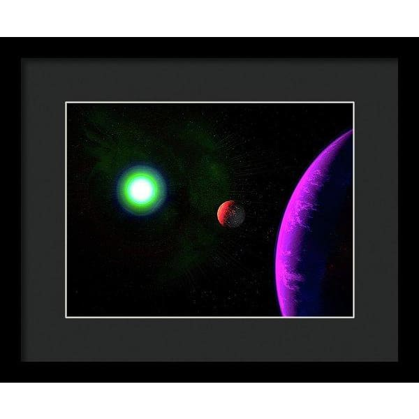 Sun-moon-planet Trio - Framed Print - 12.000 x 9.000 / Black / Black - Framed Print