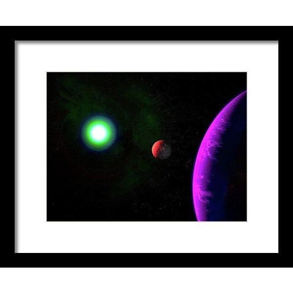 Sun-moon-planet Trio - Framed Print - 12.000 x 9.000 / Black / White - Framed Print