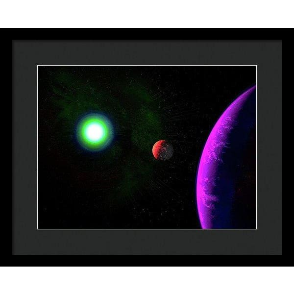 Sun-moon-planet Trio - Framed Print - 16.000 x 12.000 / Black / Black - Framed Print