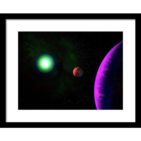 Sun-moon-planet Trio - Framed Print - 16.000 x 12.000 / Black / White - Framed Print