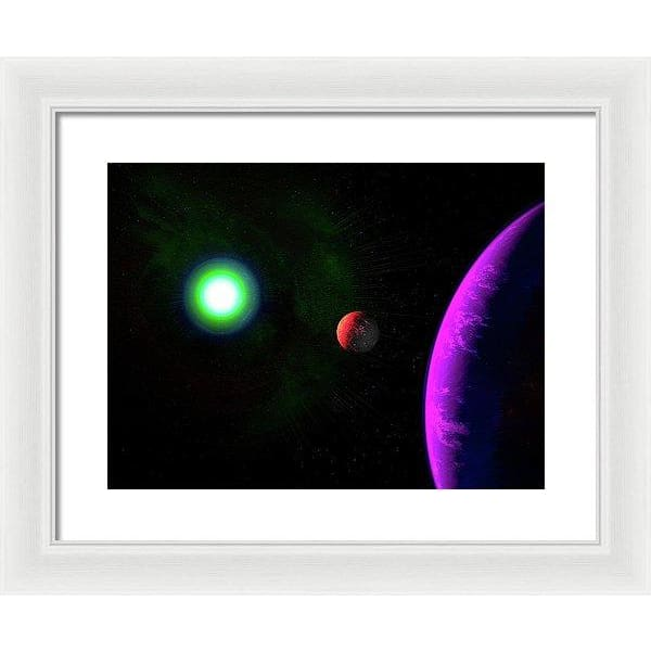 Sun-moon-planet Trio - Framed Print - 16.000 x 12.000 / White / White - Framed Print