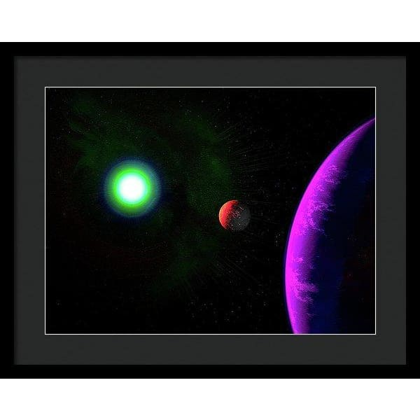 Sun-moon-planet Trio - Framed Print - 20.000 x 15.000 / Black / Black - Framed Print