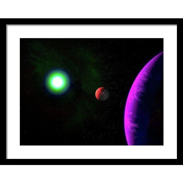 Sun-moon-planet Trio - Framed Print - 20.000 x 15.000 / Black / White - Framed Print