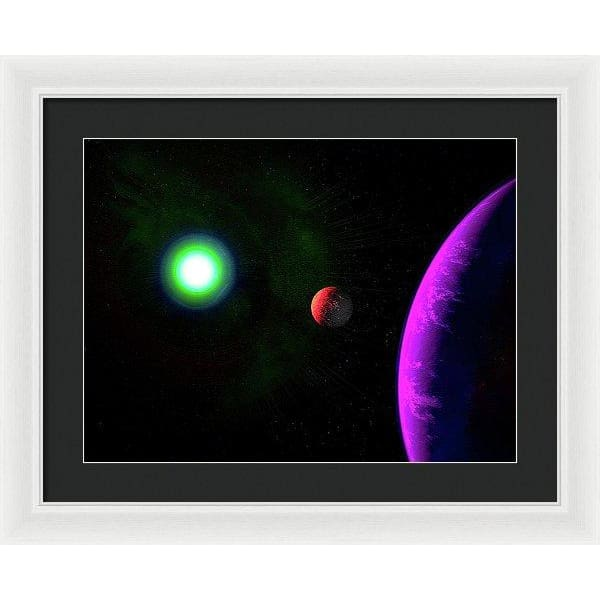 Sun-moon-planet Trio - Framed Print - 20.000 x 15.000 / White / Black - Framed Print