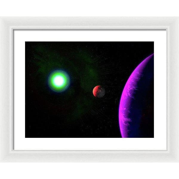 Sun-moon-planet Trio - Framed Print - 20.000 x 15.000 / White / White - Framed Print