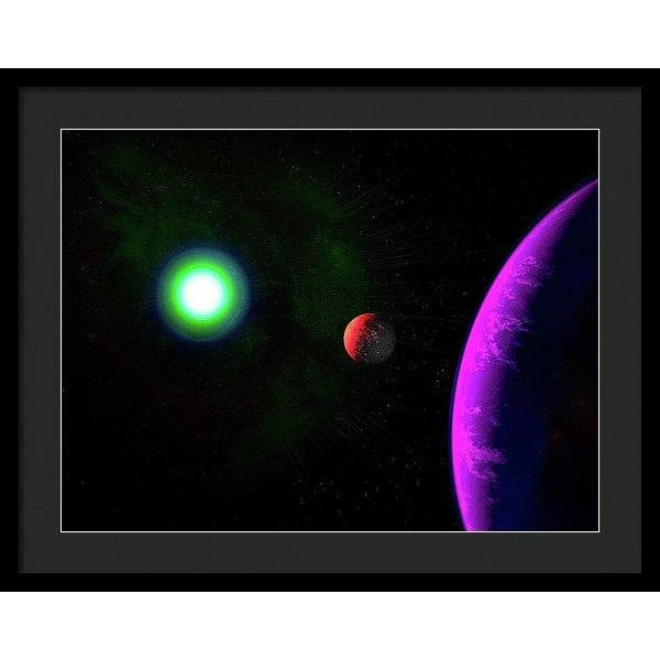 Sun-moon-planet Trio - Framed Print - 24.000 x 18.000 / Black / Black - Framed Print