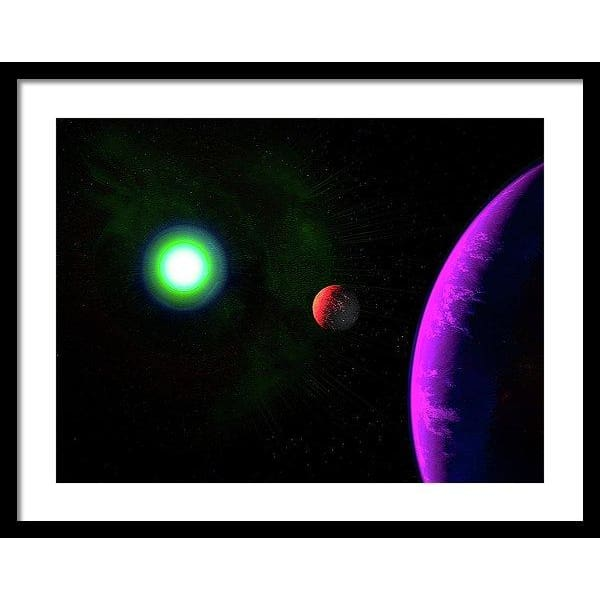 Sun-moon-planet Trio - Framed Print - 24.000 x 18.000 / Black / White - Framed Print