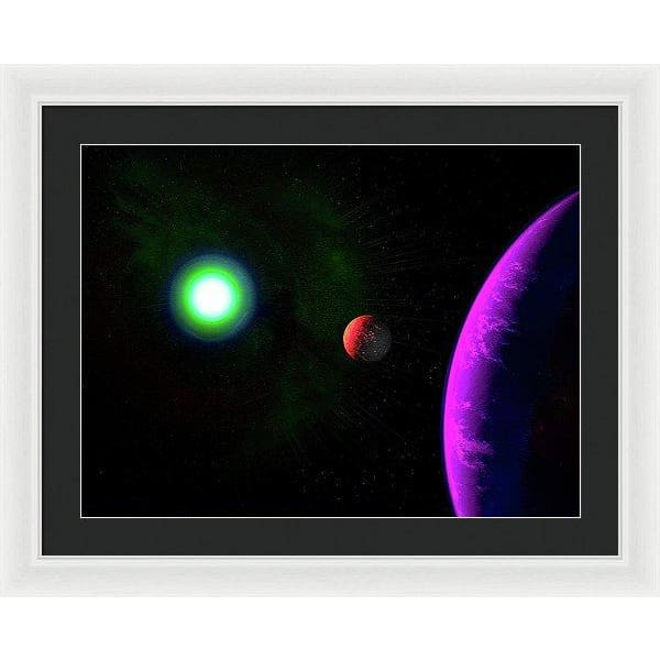 Sun-moon-planet Trio - Framed Print - 24.000 x 18.000 / White / Black - Framed Print