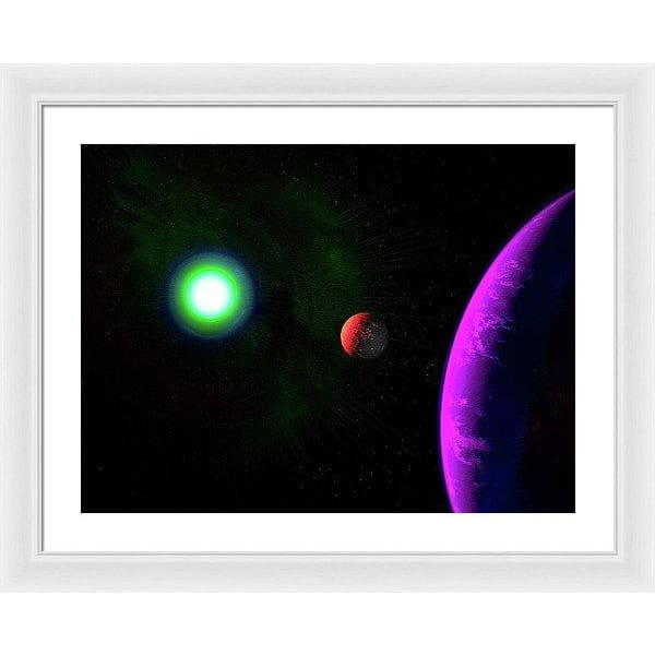 Sun-moon-planet Trio - Framed Print - 24.000 x 18.000 / White / White - Framed Print
