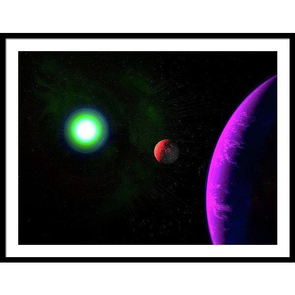 Sun-moon-planet Trio - Framed Print - 40.000 x 30.000 / Black / White - Framed Print