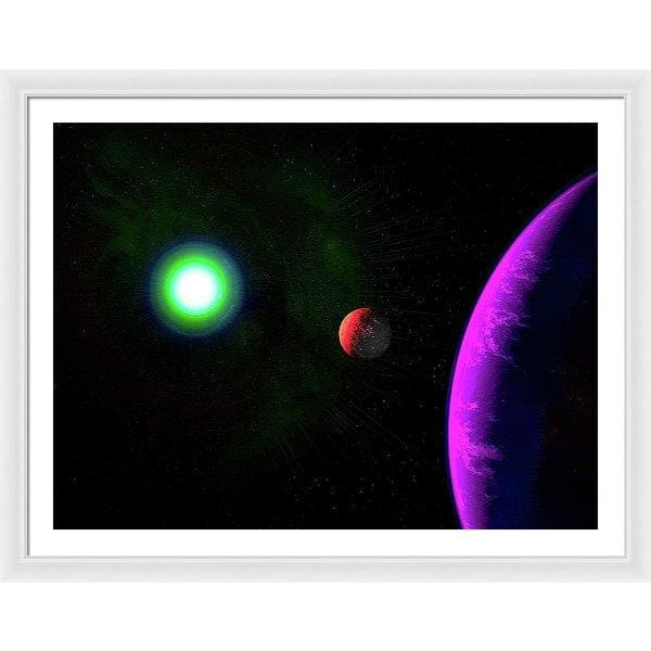 Sun-moon-planet Trio - Framed Print - 40.000 x 30.000 / White / White - Framed Print