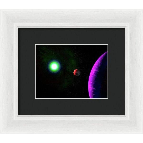 Sun-moon-planet Trio - Framed Print - 8.000 x 6.000 / White / Black - Framed Print