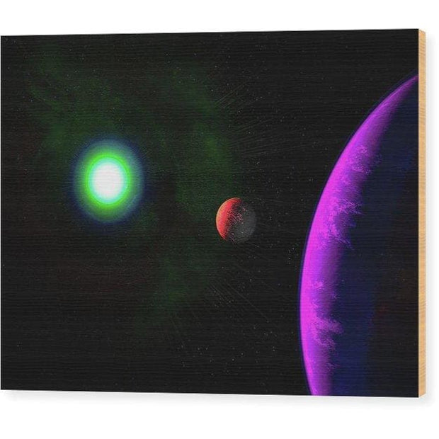 Sun-moon-planet Trio - Wood Print - 8.000 x 6.000 - Wood Print