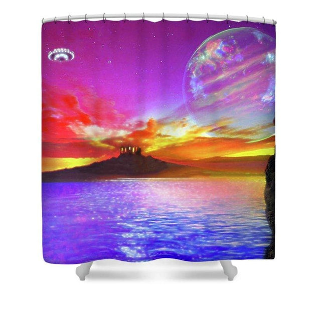 Sunset Temple - Shower Curtain - 71 x 74 Standard - Shower Curtain