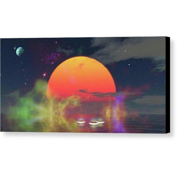 Water Planet - Canvas Print - 12.000 x 6.000 / Black / Glossy - Canvas Print
