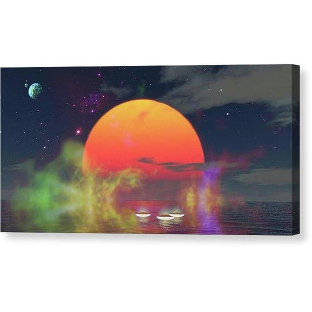 Water Planet - Canvas Print - 12.000 x 6.000 / Mirrored / Glossy - Canvas Print