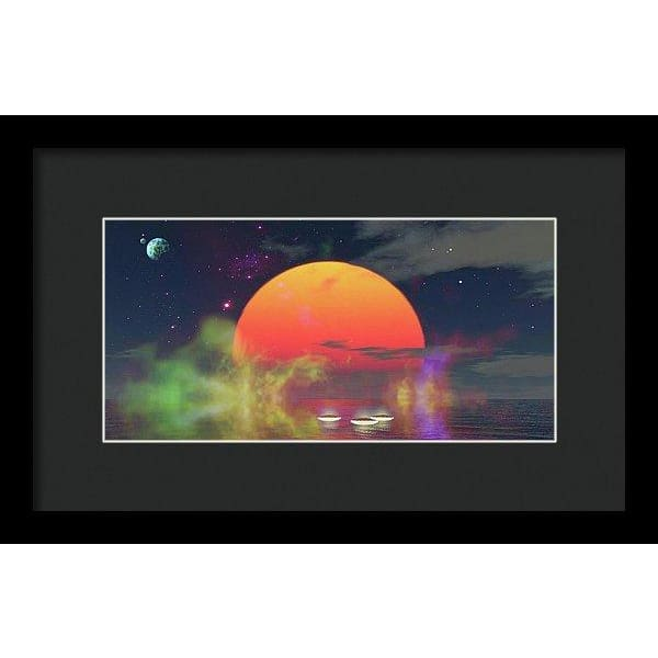 Water Planet - Framed Print - 12.000 x 6.000 / Black / Black - Framed Print