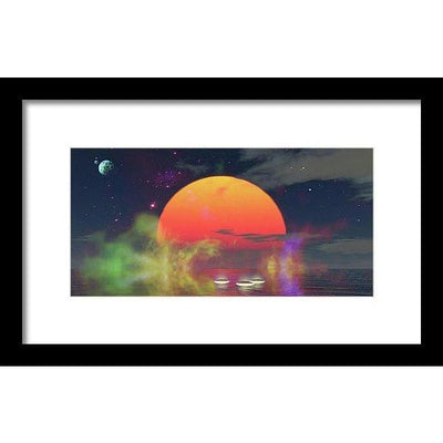 Water Planet - Framed Print - 12.000 x 6.000 / Black / White - Framed Print