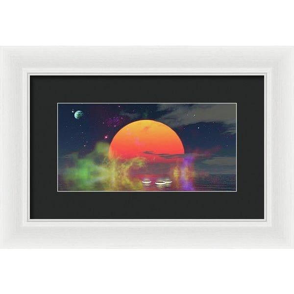 Water Planet - Framed Print - 12.000 x 6.000 / White / Black - Framed Print