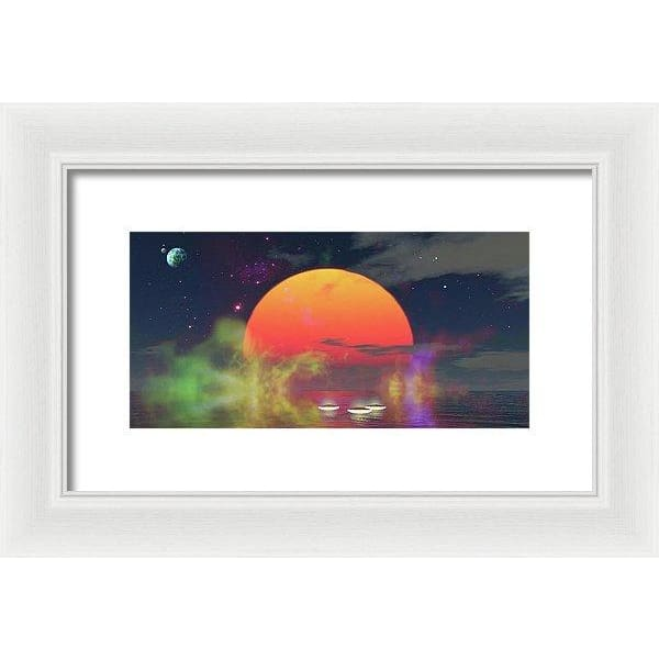 Water Planet - Framed Print - 12.000 x 6.000 / White / White - Framed Print