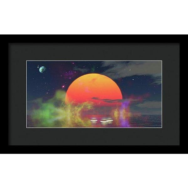 Water Planet - Framed Print - 14.000 x 7.000 / Black / Black - Framed Print