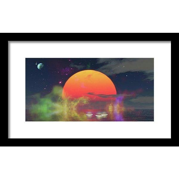 Water Planet - Framed Print - 14.000 x 7.000 / Black / White - Framed Print
