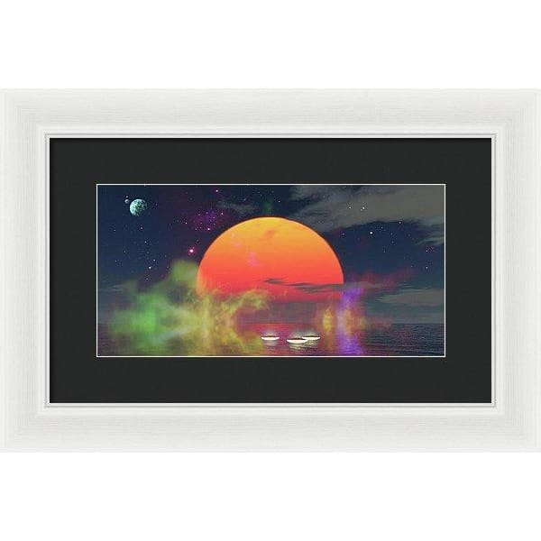 Water Planet - Framed Print - 14.000 x 7.000 / White / Black - Framed Print