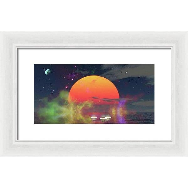 Water Planet - Framed Print - 14.000 x 7.000 / White / White - Framed Print