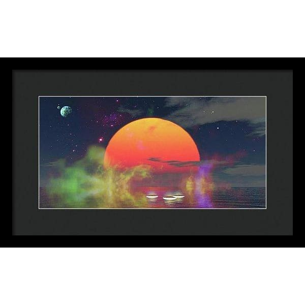 Water Planet - Framed Print - 16.000 x 8.000 / Black / Black - Framed Print