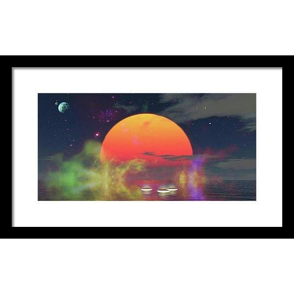 Water Planet - Framed Print - 16.000 x 8.000 / Black / White - Framed Print
