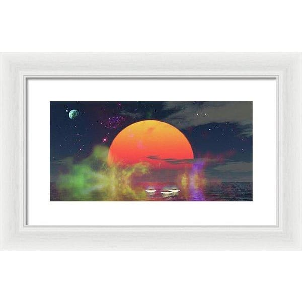 Water Planet - Framed Print - 16.000 x 8.000 / White / White - Framed Print