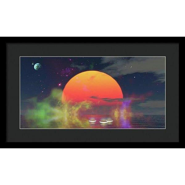 Water Planet - Framed Print - 20.000 x 10.000 / Black / Black - Framed Print