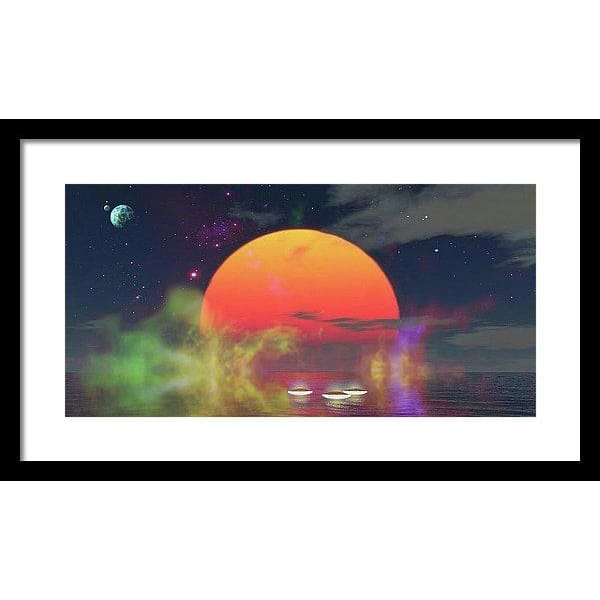 Water Planet - Framed Print - 20.000 x 10.000 / Black / White - Framed Print