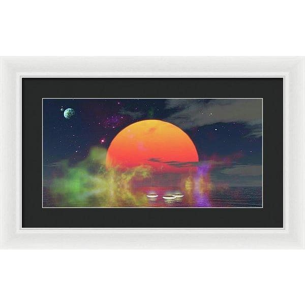 Water Planet - Framed Print - 20.000 x 10.000 / White / Black - Framed Print