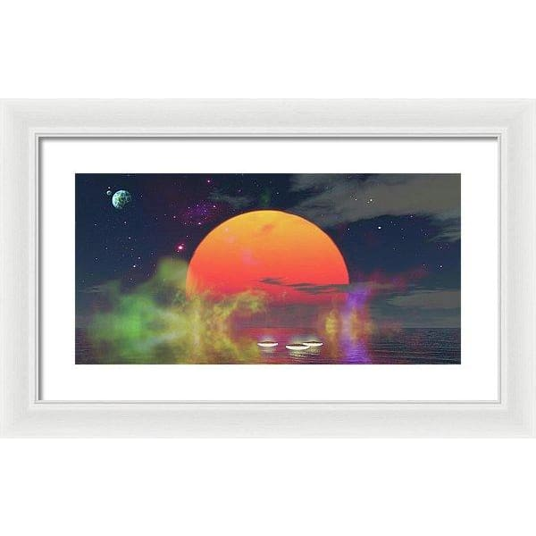 Water Planet - Framed Print - 20.000 x 10.000 / White / White - Framed Print