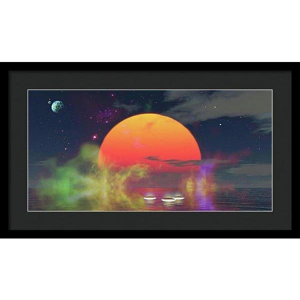 Water Planet - Framed Print - 24.000 x 12.000 / Black / Black - Framed Print