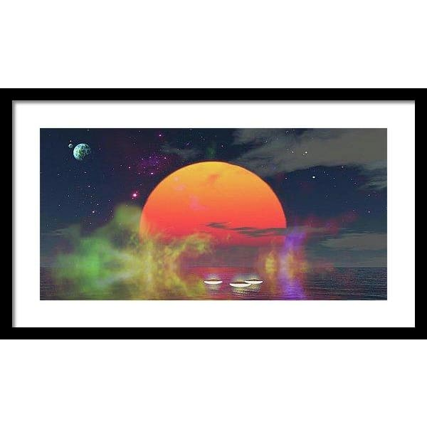 Water Planet - Framed Print - 24.000 x 12.000 / Black / White - Framed Print