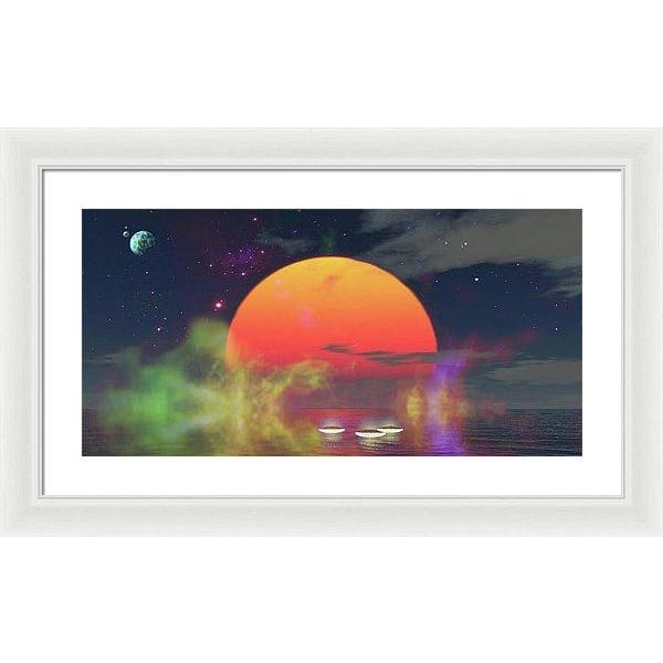 Water Planet - Framed Print - 24.000 x 12.000 / White / White - Framed Print