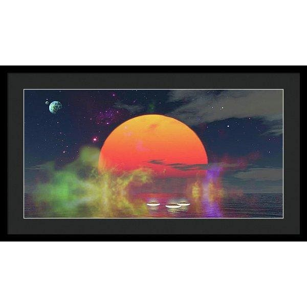 Water Planet - Framed Print - 30.000 x 15.000 / Black / Black - Framed Print