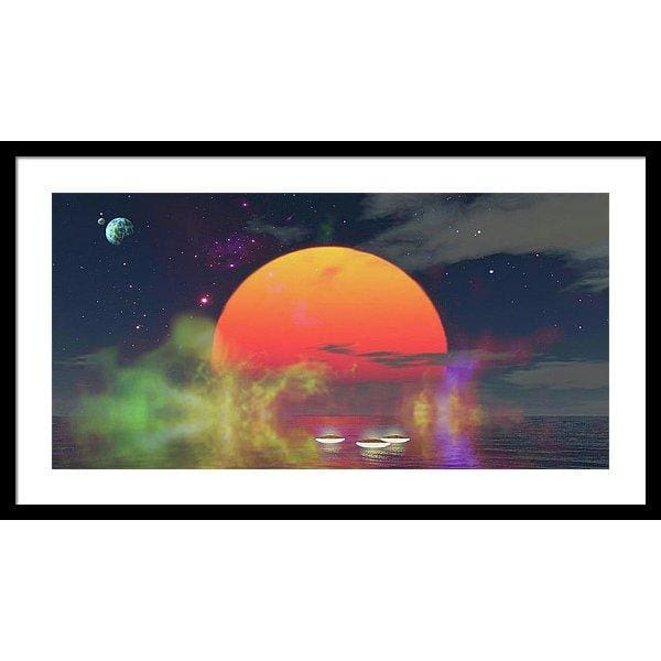 Water Planet - Framed Print - 30.000 x 15.000 / Black / White - Framed Print