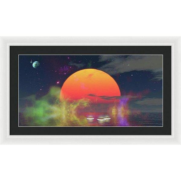 Water Planet - Framed Print - 30.000 x 15.000 / White / Black - Framed Print