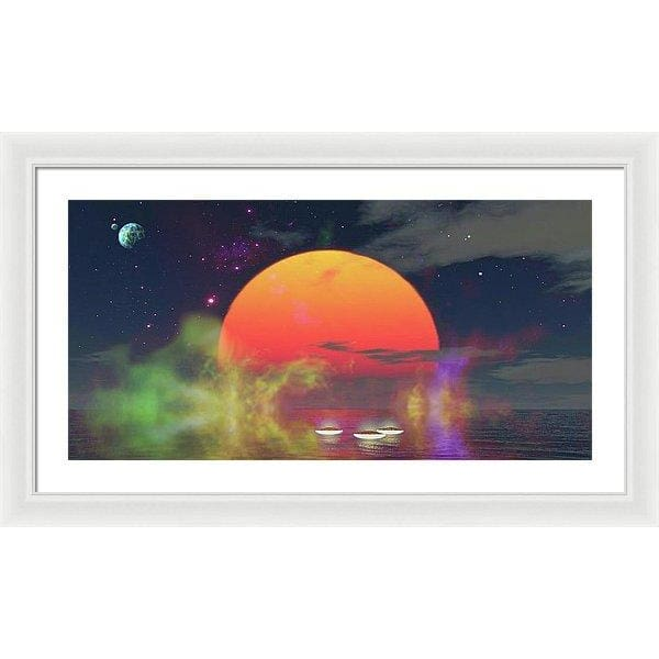 Water Planet - Framed Print - 30.000 x 15.000 / White / White - Framed Print