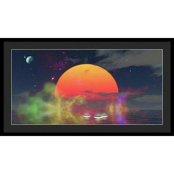 Water Planet - Framed Print - 36.000 x 18.000 / Black / Black - Framed Print
