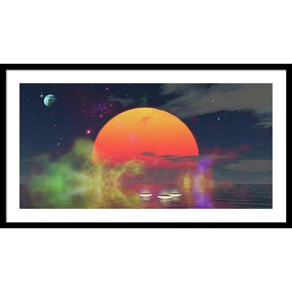 Water Planet - Framed Print - 36.000 x 18.000 / Black / White - Framed Print