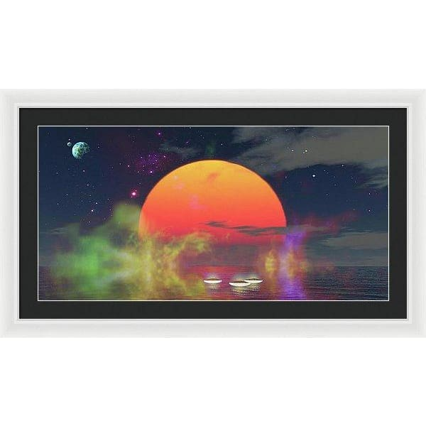 Water Planet - Framed Print - 36.000 x 18.000 / White / Black - Framed Print