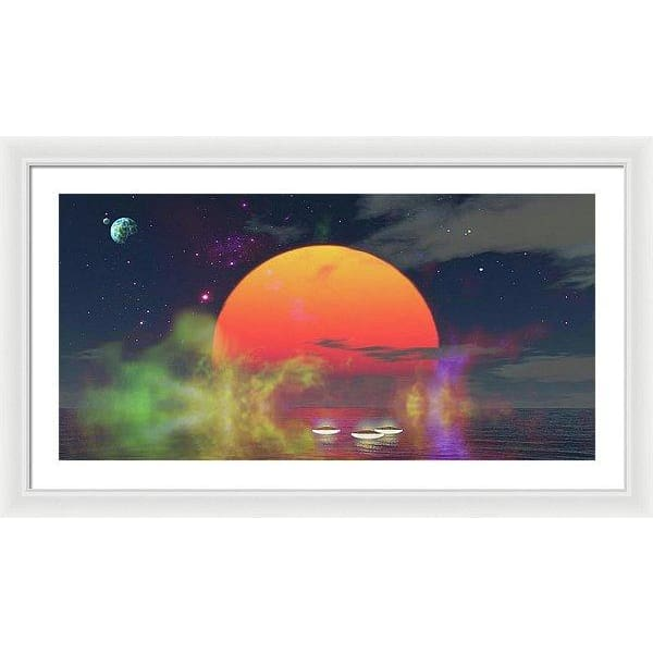 Water Planet - Framed Print - 36.000 x 18.000 / White / White - Framed Print